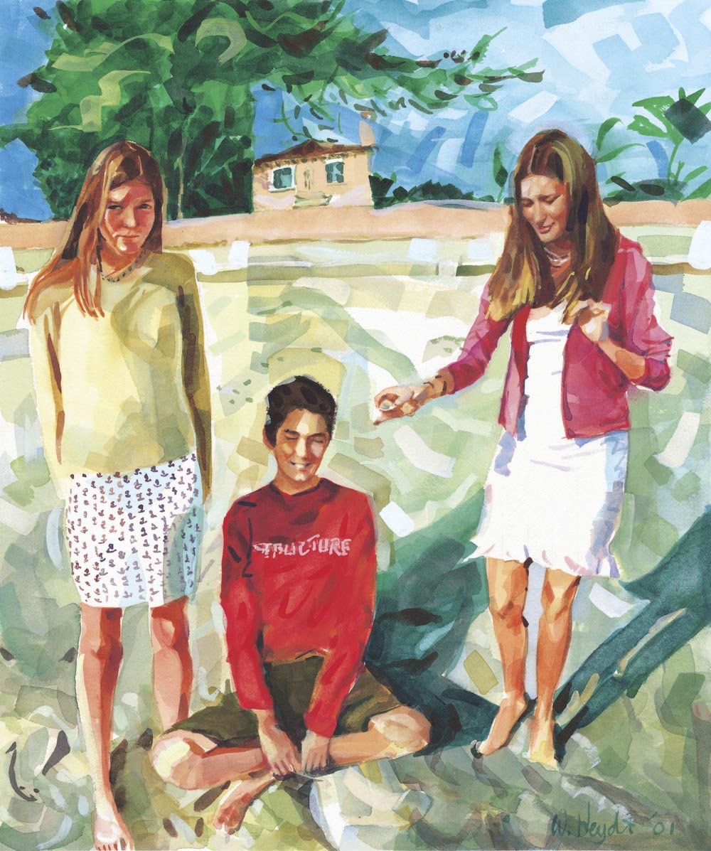 Sam, Eric and Bernadette take an early morning stroll on the beach, Florida