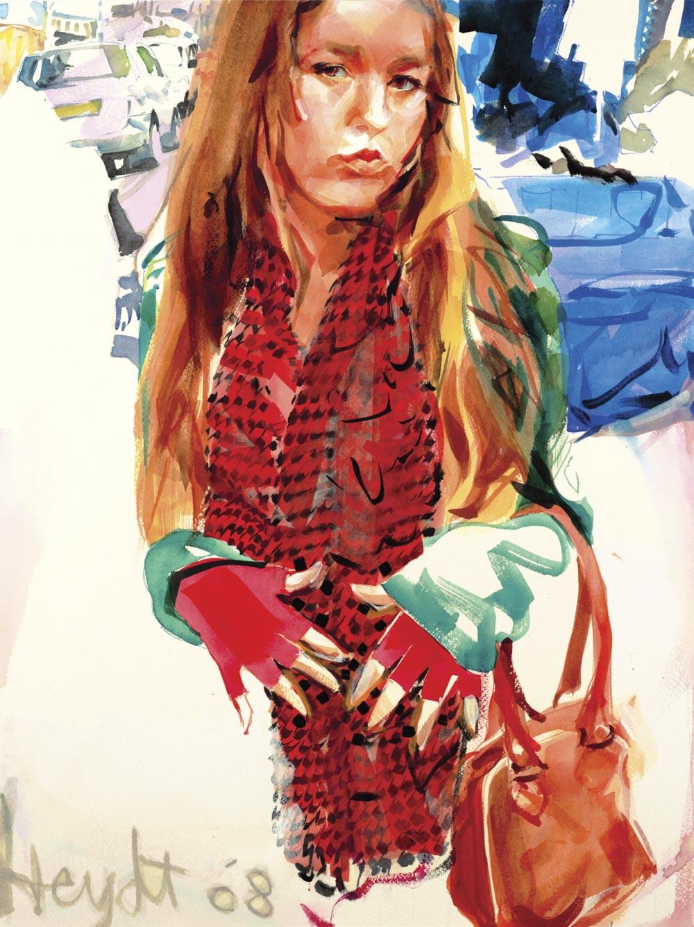 Samantha and her new red gloves, Norde Markt, Amsterdam