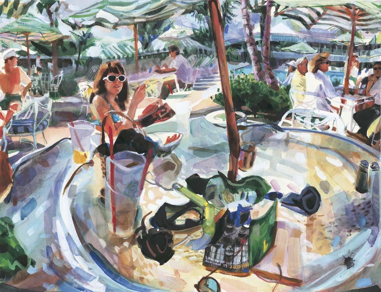 Samantha lounges at The Beach Club, Palm Beach