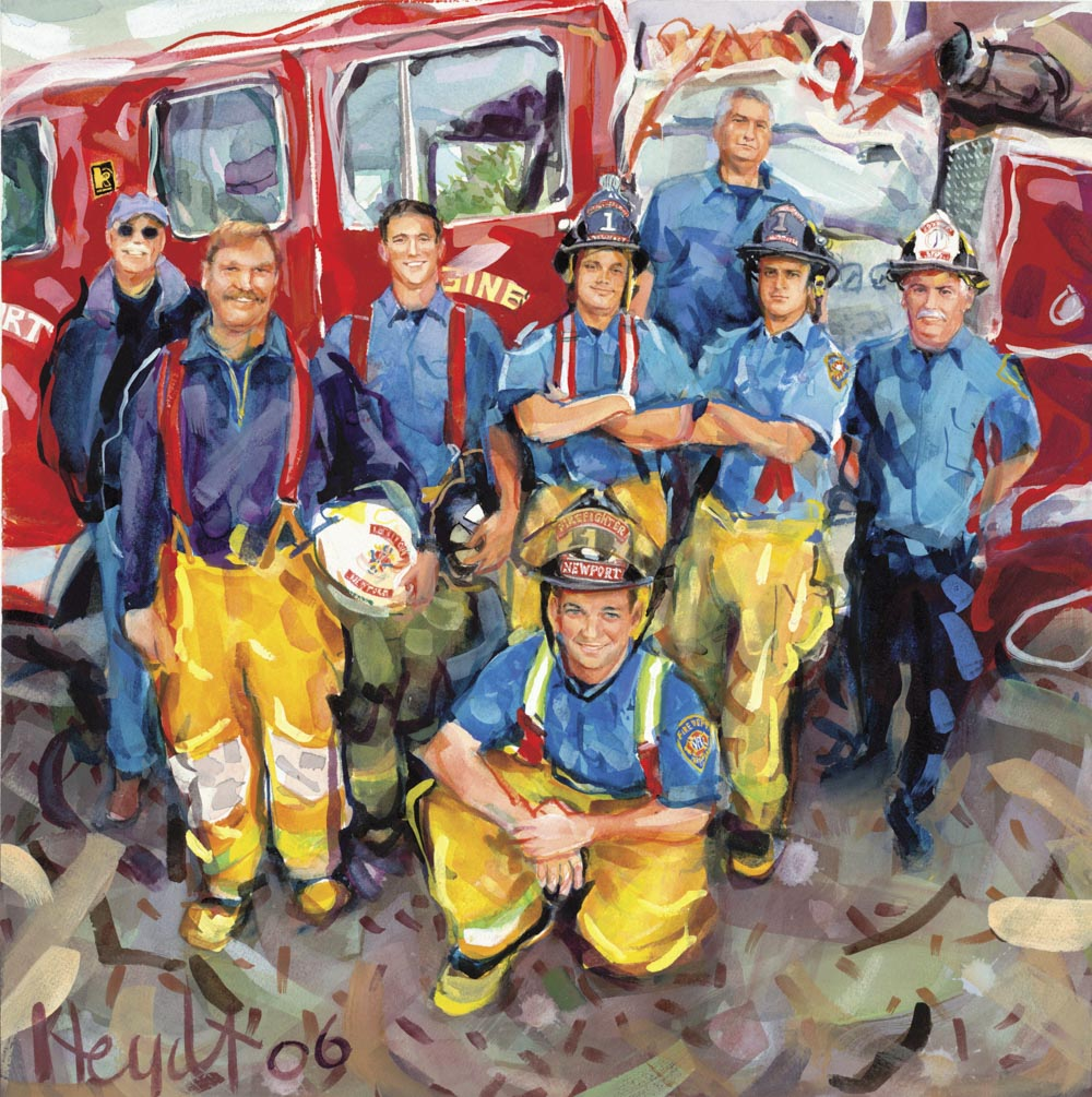 Some of Newport's bravest at Station One, Newport