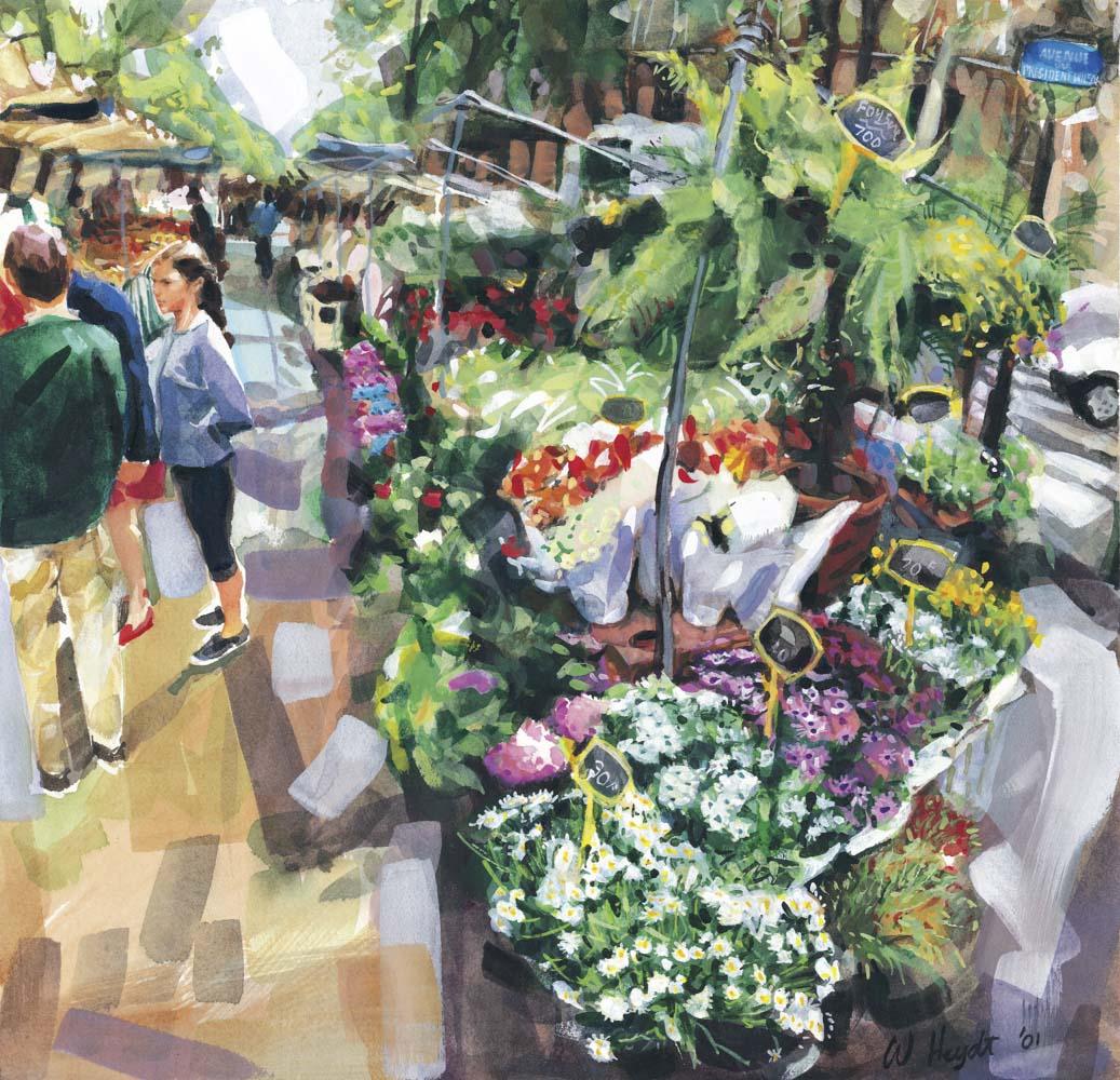 Un marché en plain air commence avec les marchands des fleurs, le printemps, Paris