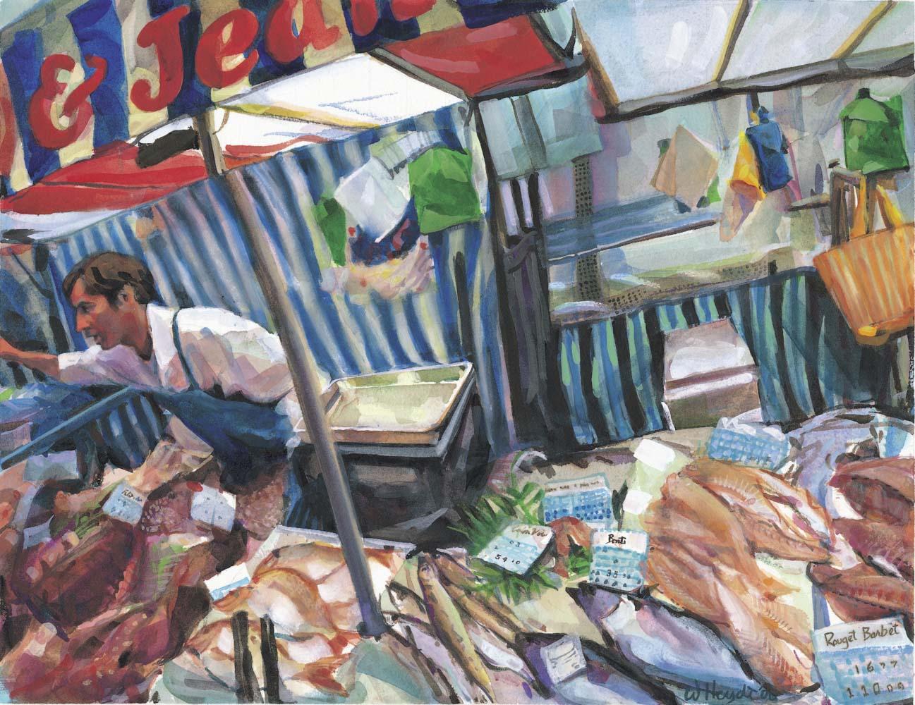 Un poissonnerie au marché, ave. du Président Wilson, Paris