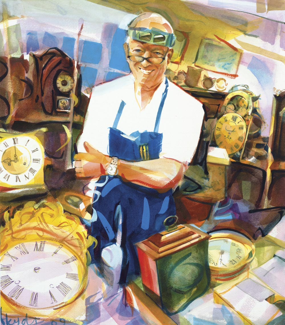W. Edward Christiansen in his Antique Clock Restoration Shop, Newport