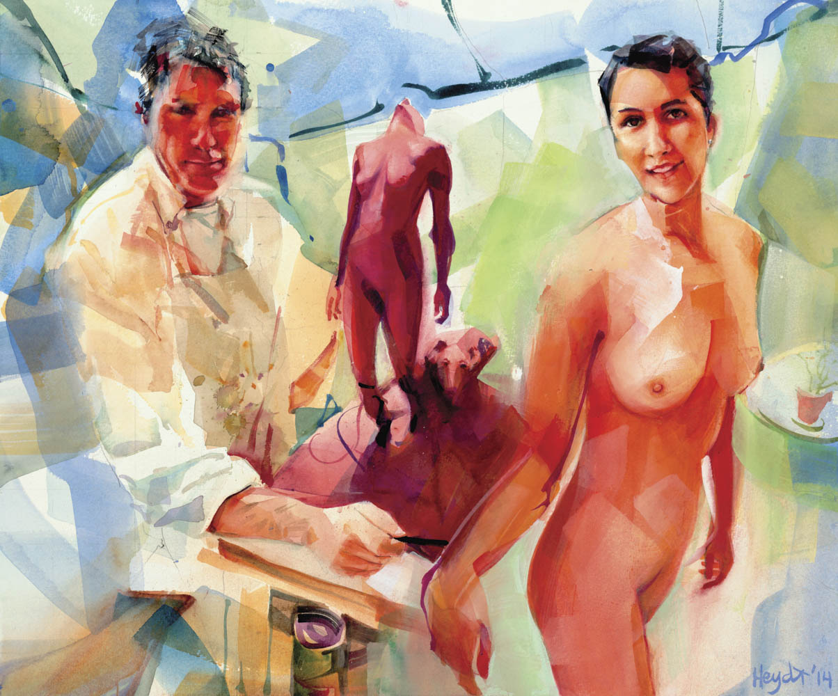 """""""The artist and his model"""" James Langston works with Andrea in his studio, Newport"""