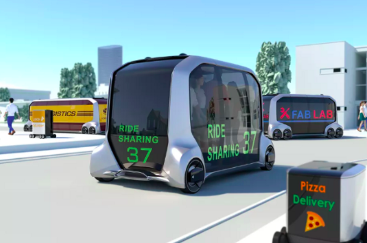 La  e-palette imaginée par Toyota est un véritable espace de vie ambulant . Une solution qui rentabilise le temps de transport… et encourage une re-mobilité ? Source :  DPCcars
