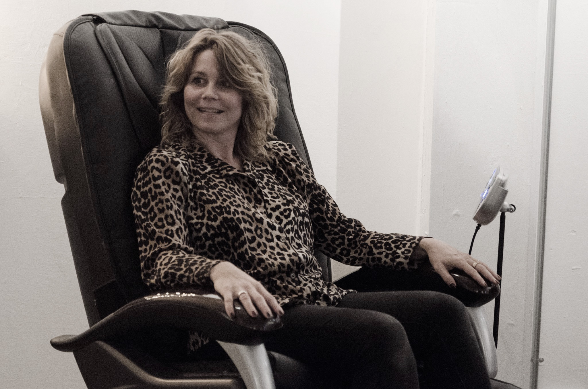 The lovely  Anne Louise Hassing getting a massage in the Green Room