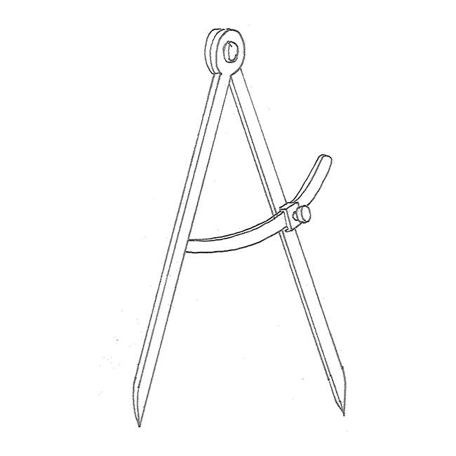 E: dividers, compass, pair of compasses; F: compas (droit/d'appareilleur); G: Zirkel m
