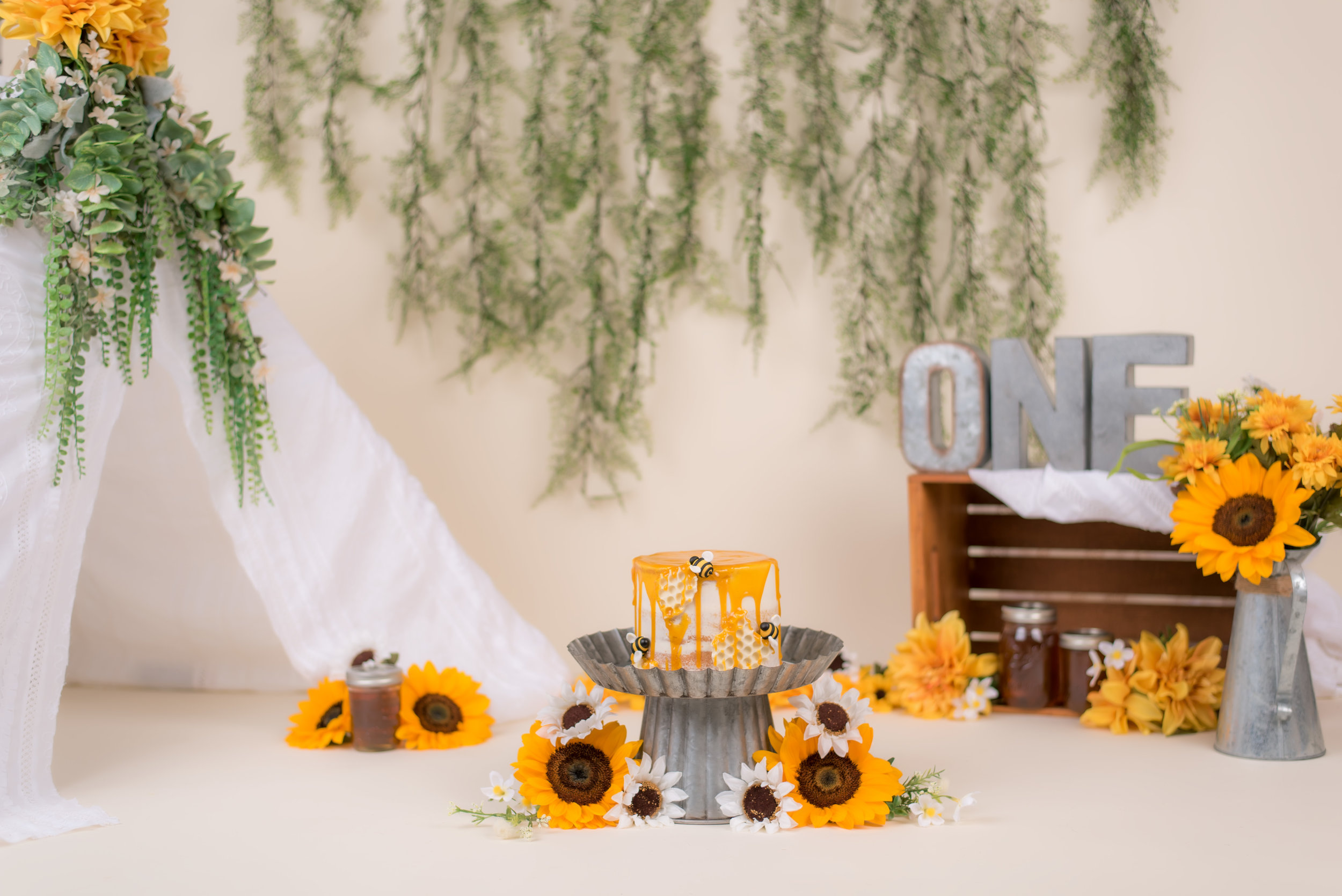 Honey Bee Rustic Cake Smash Theme with yellow sunflower and tent