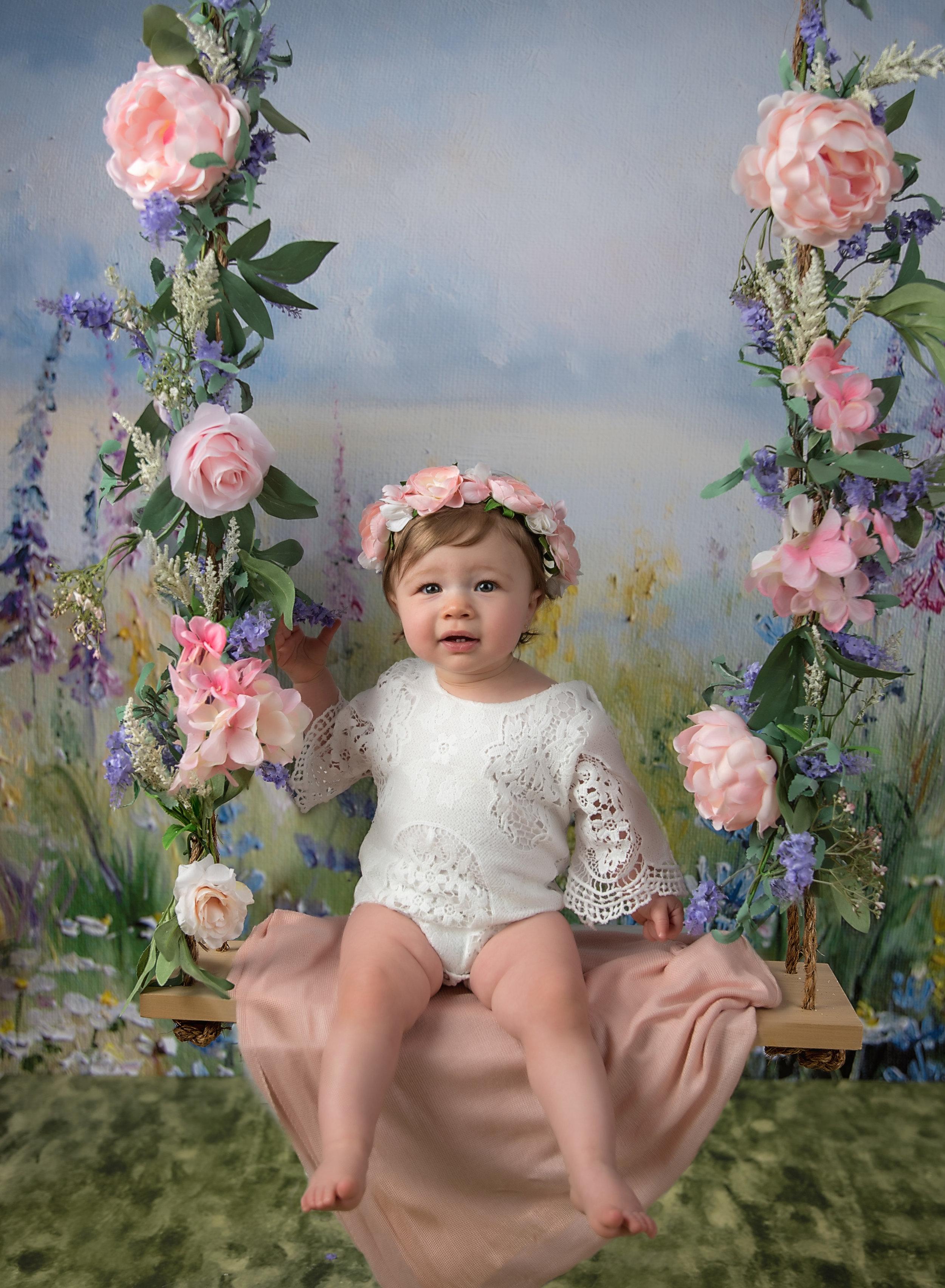 1 year old girl boho floral crown on floral swingpink purple spring