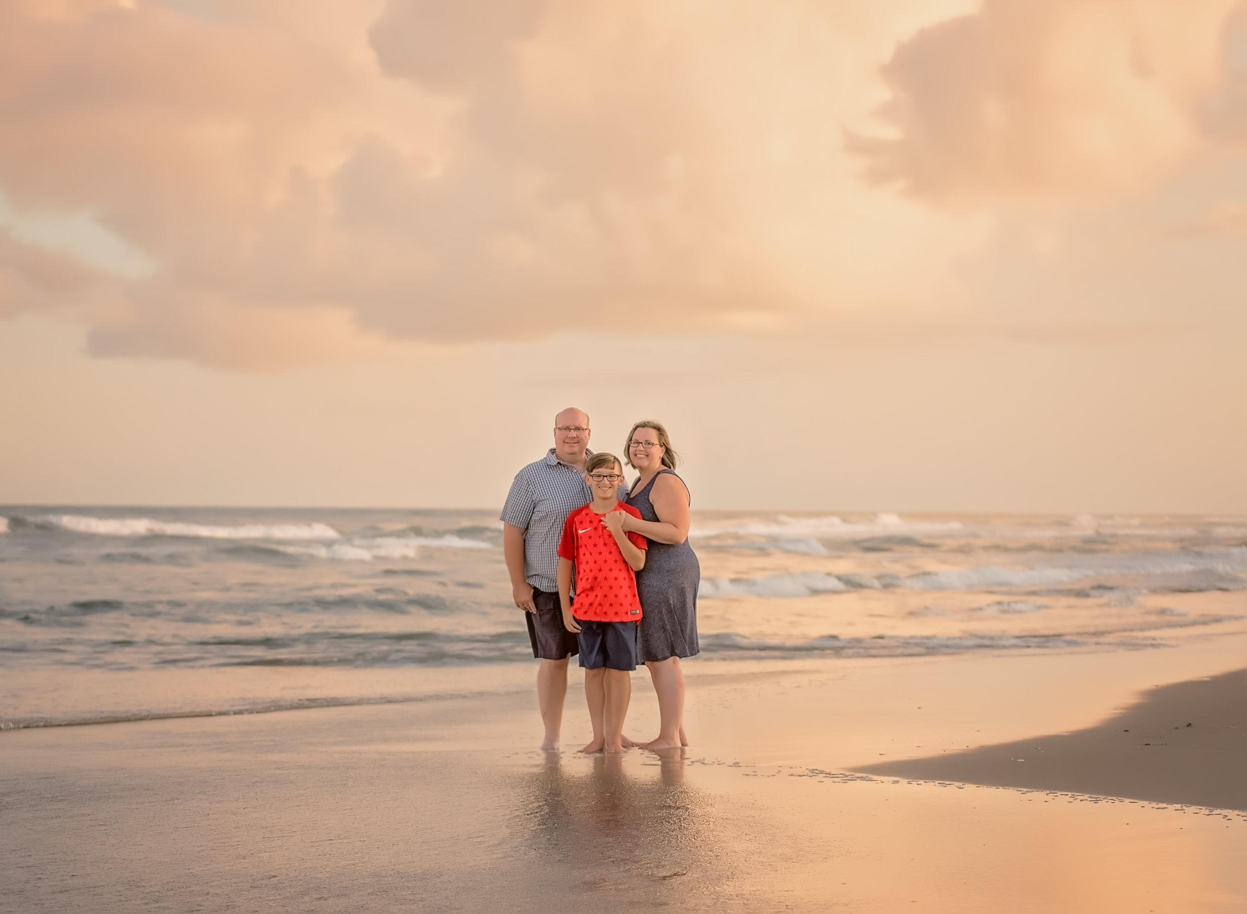 sunset family beach portrait at ocracoke island north carolina