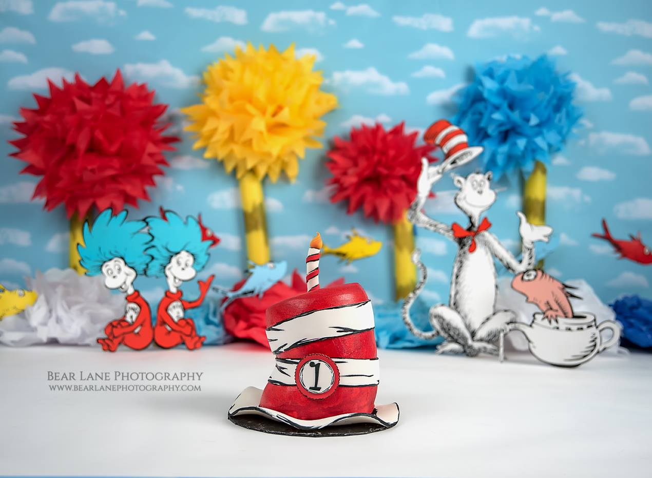 Dr Seuss Cake Smash cake with cat in the hat thing one and thing two red fish blue fish and truffula trees lorax