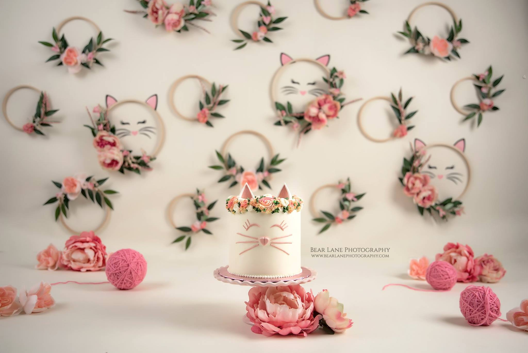 cat theme pink floral embroidery loop wreath girl cake smash yarn kitten cake