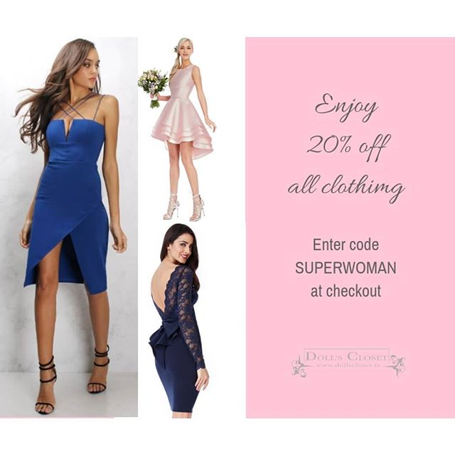 Celebrate International Women's Day and treat yourself to something pretty! 20% off all clothing! Enter code SUPERWOMAN at checkout 💗 . . #dollscloset #fashion #instashop #instadaily #fashioninspo #fashion #lifestyle #blogger #fashion #styleinspo #fashionlover #instadaily #internationalwomensday #sale #discount #bargain