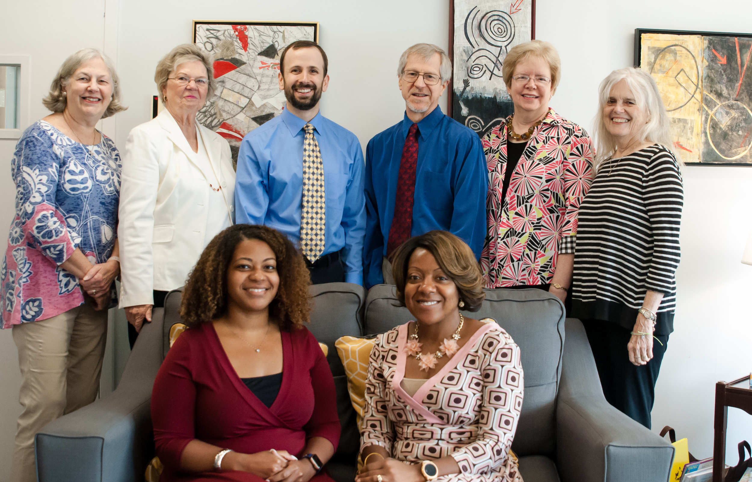 VIPCare's Board of Directors. Back row, l to r: Anne Peck, Carol B. Markow, Board President Robert F. Brown, Executive Director Douglas M. Thorpe, Melinda South, and Frances Broaddus Crutchfield Front Row seated: Board Vice President Jessica Young Brown and Janiel Youngblood Absent: Sister Cora Marie Billings, The Rev. Dr. Daniel G. Bagby, Sean Hamon, Gwen Lingerfelt (photo July 24, 2019)