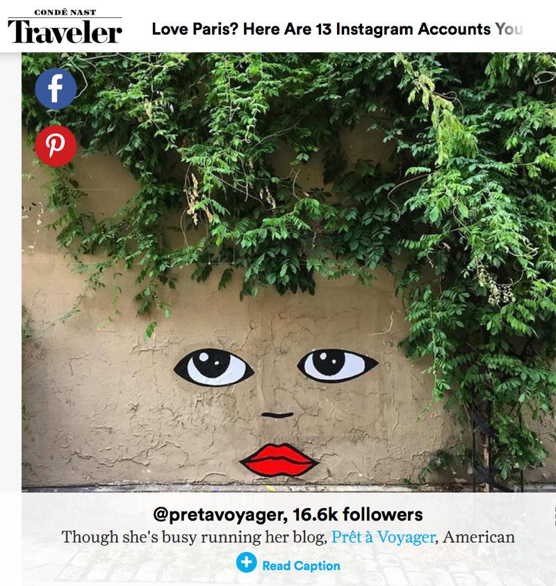 Named  top Paris Instagrammer by Condé Nast Traveler  — 2015