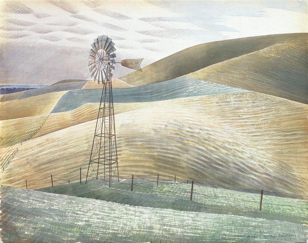 Waterwheel; E. Ravilious; Watercolour, 1934;