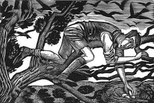 Boy Birds-Nesting; E. Ravilious; Wood Engraving, 1926; Towner Art Gallery, Eastbourne