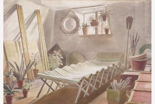 Attic Bedroom; E. Ravilious; Watercolour 1934; Fry Art Gallery