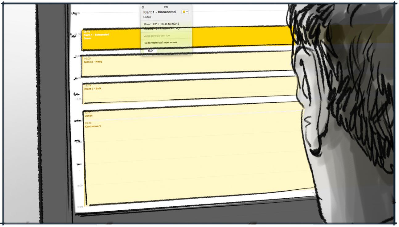 Storyboard voorstellen medewerker Rabobank tekening 2