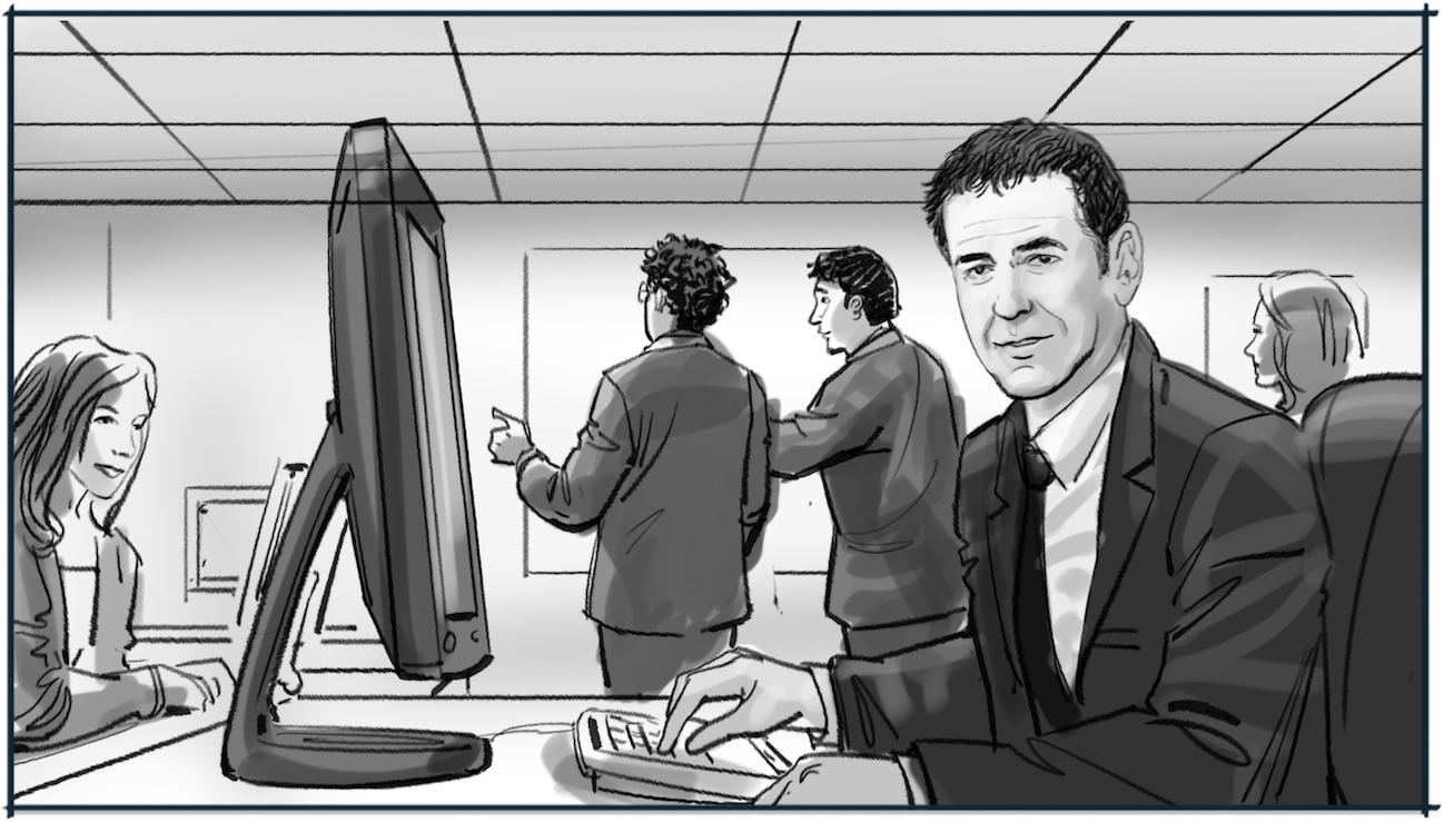 Storyboard voorstellen medewerker Rabobank tekening 3