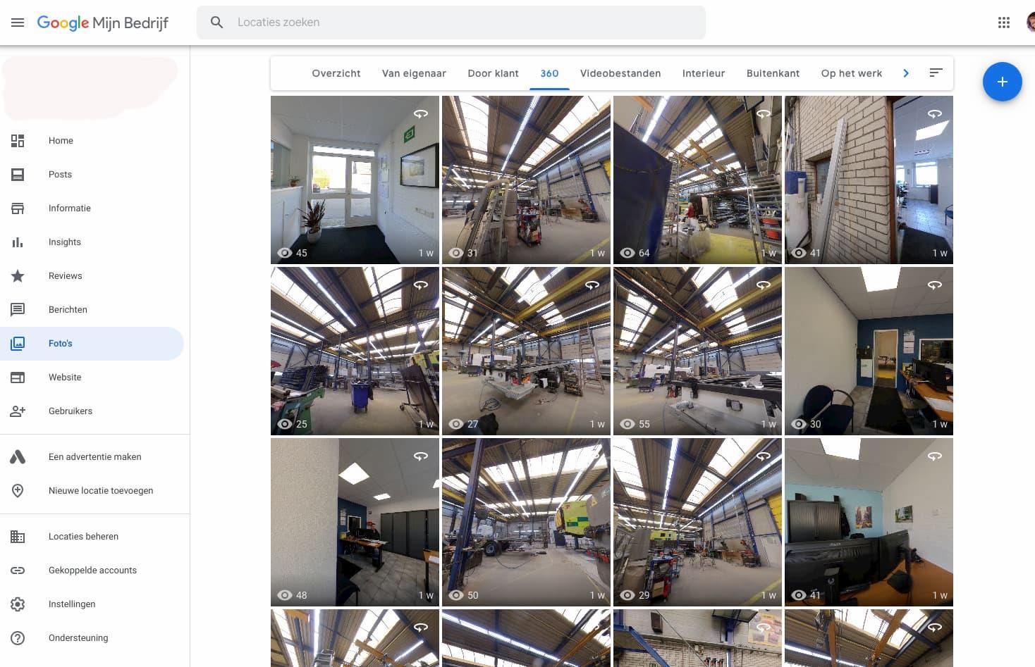 Screenshot 360 graden foto's virtuele tour in GMB account op de computer