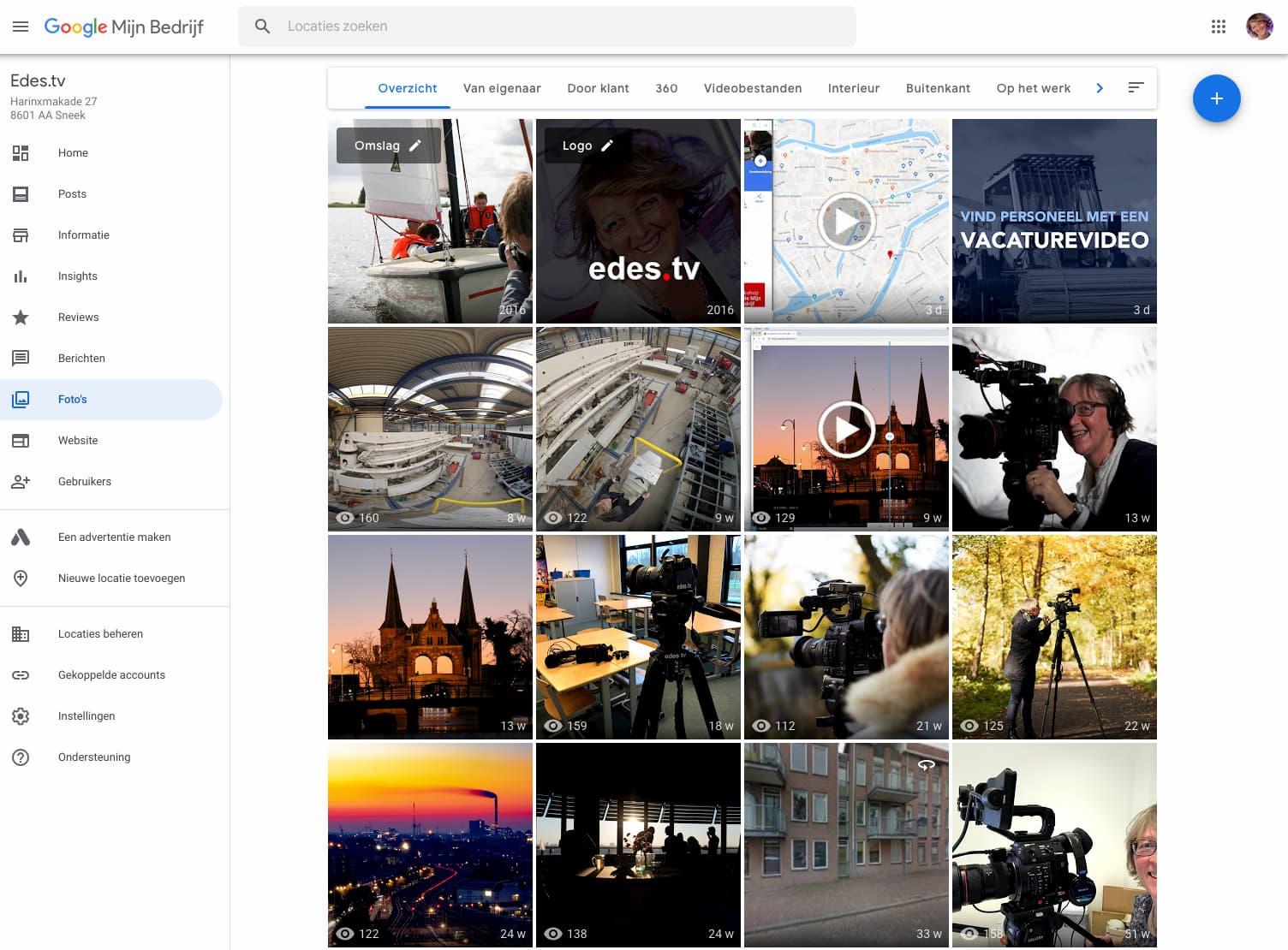 Screenshot overzicht van alle foto's en video's in een GMB account