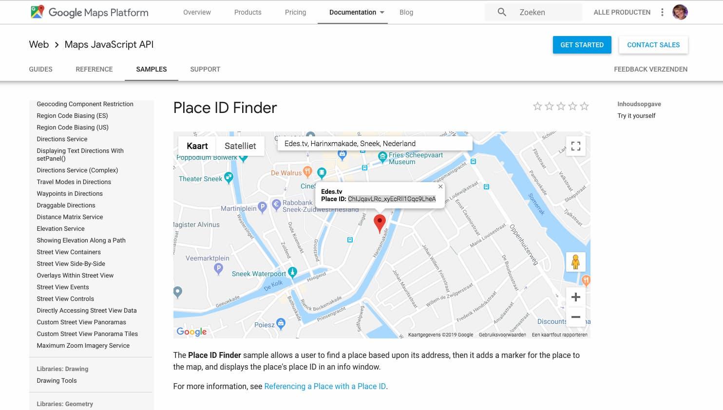 Screenshot Google Places ID