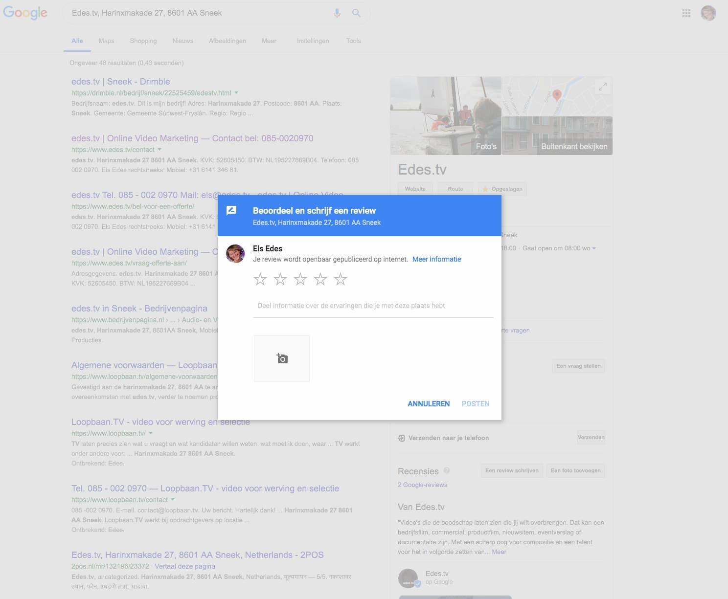 Screenshot pagina waar je direct een Google review in kunt vullen