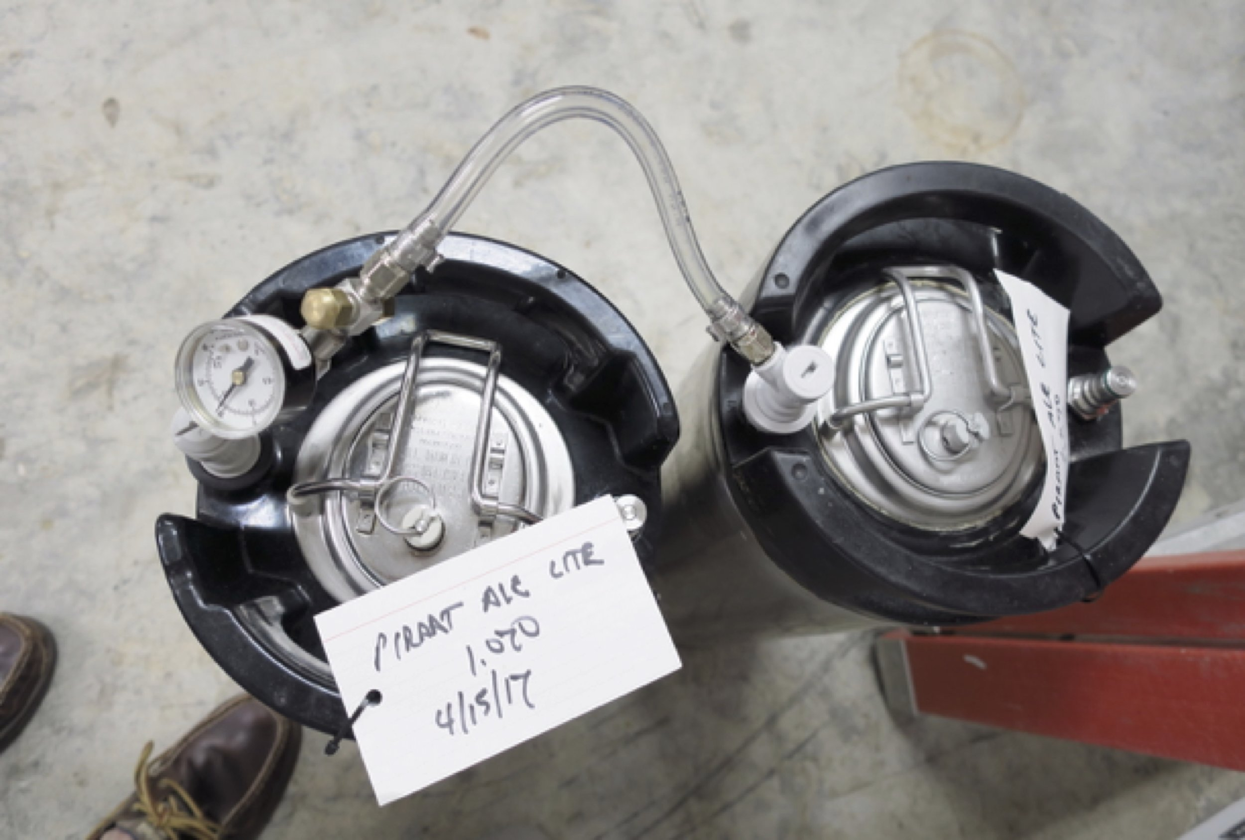 """Monitoring the keg pressure; The caps can be """"cracked"""" open to slowly release CO2"""