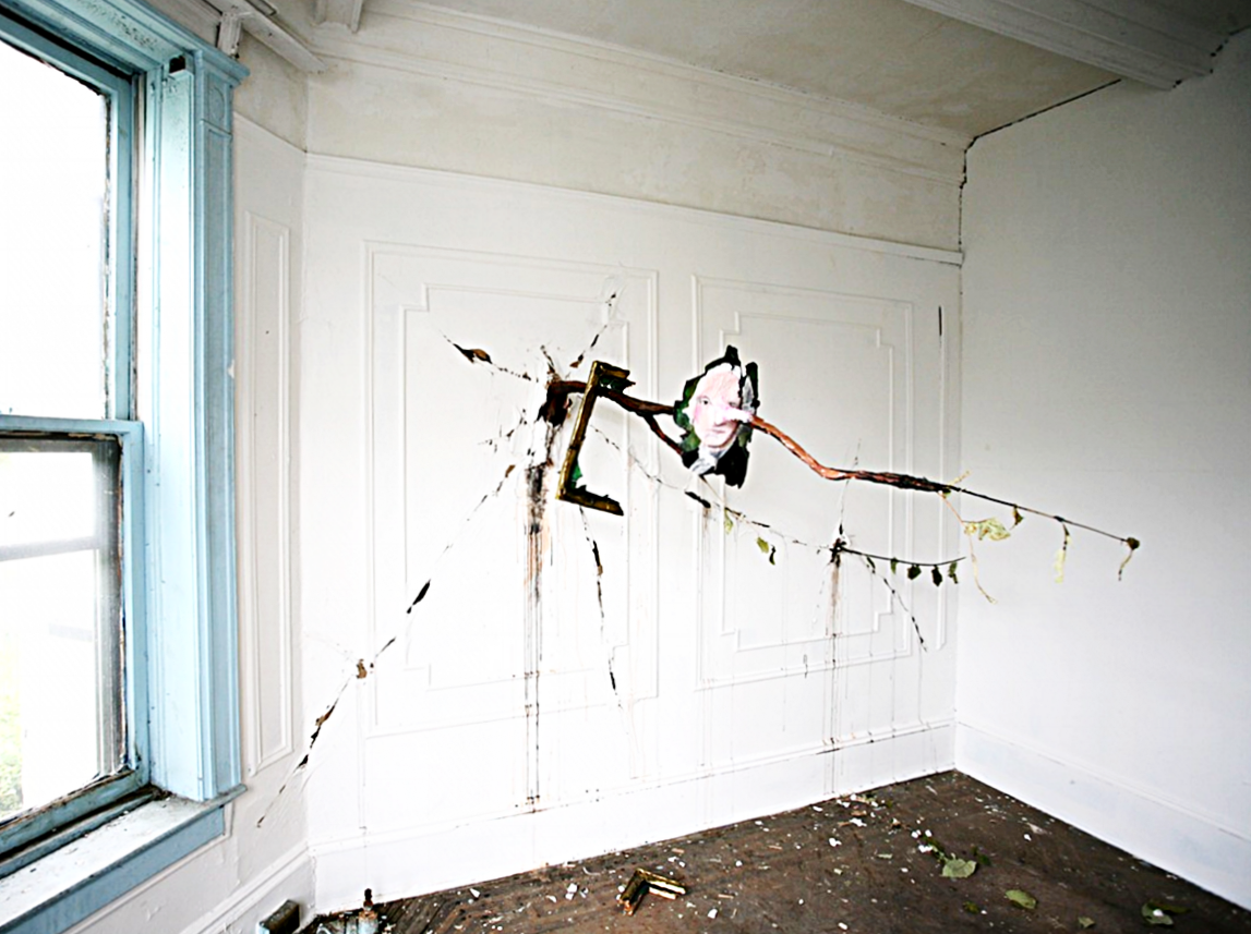Valerie Hegarty,  George Washington with Branches , 2016, wood, canvas, paper-mache, wire and acrylic paint (Installation view - INTERVENTIONS 3, 2016).