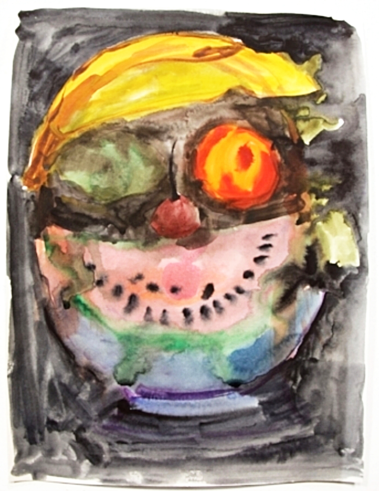 Valerie Hegarty,  Fruit Face , 2015, watercolor on paper.
