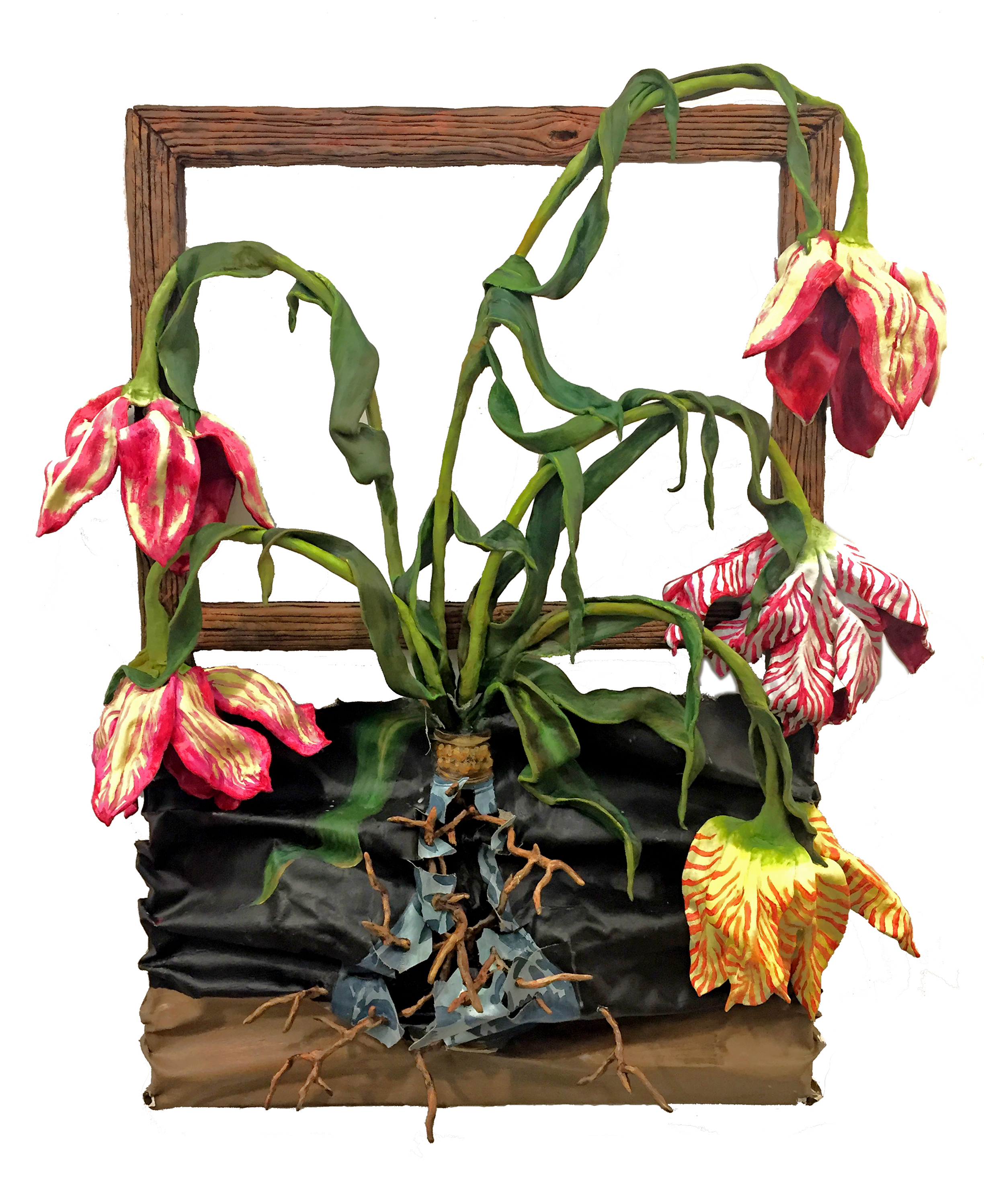 Valerie Hegarty, 5 Tulips with Wan Li Vase Elegy, 2019, wood, canvas, wire, foil, epoxy clay, acrylic paint, 40 x 33 x 9 in (101.6 x 83.8 x 22.9 cm)