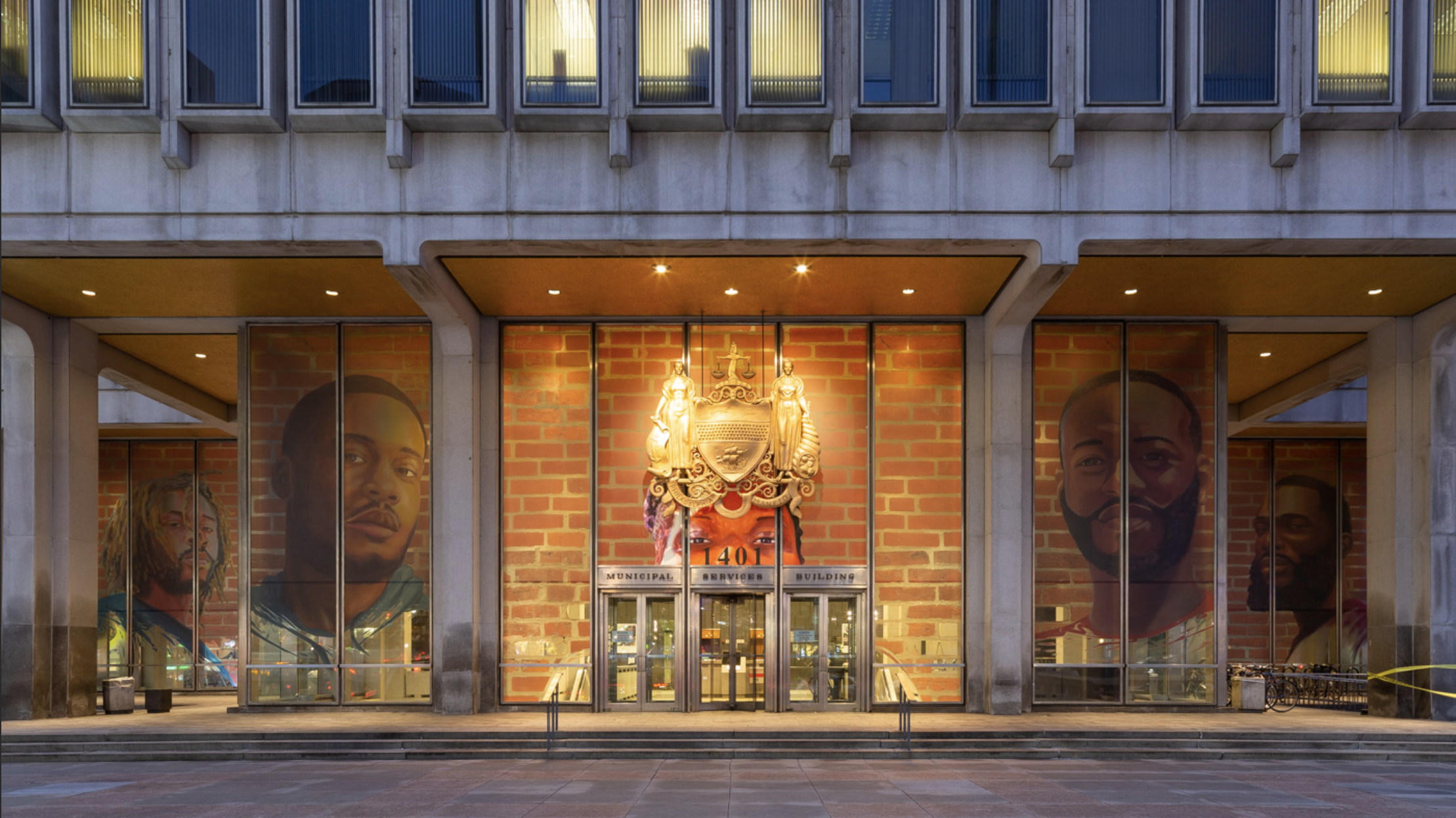 Russell Craig and Jesse Krimes,  Portraits of Justice  Installation View, Philadelphia Municipal Services Building, 2018. Photo copyright Steve Weinik.