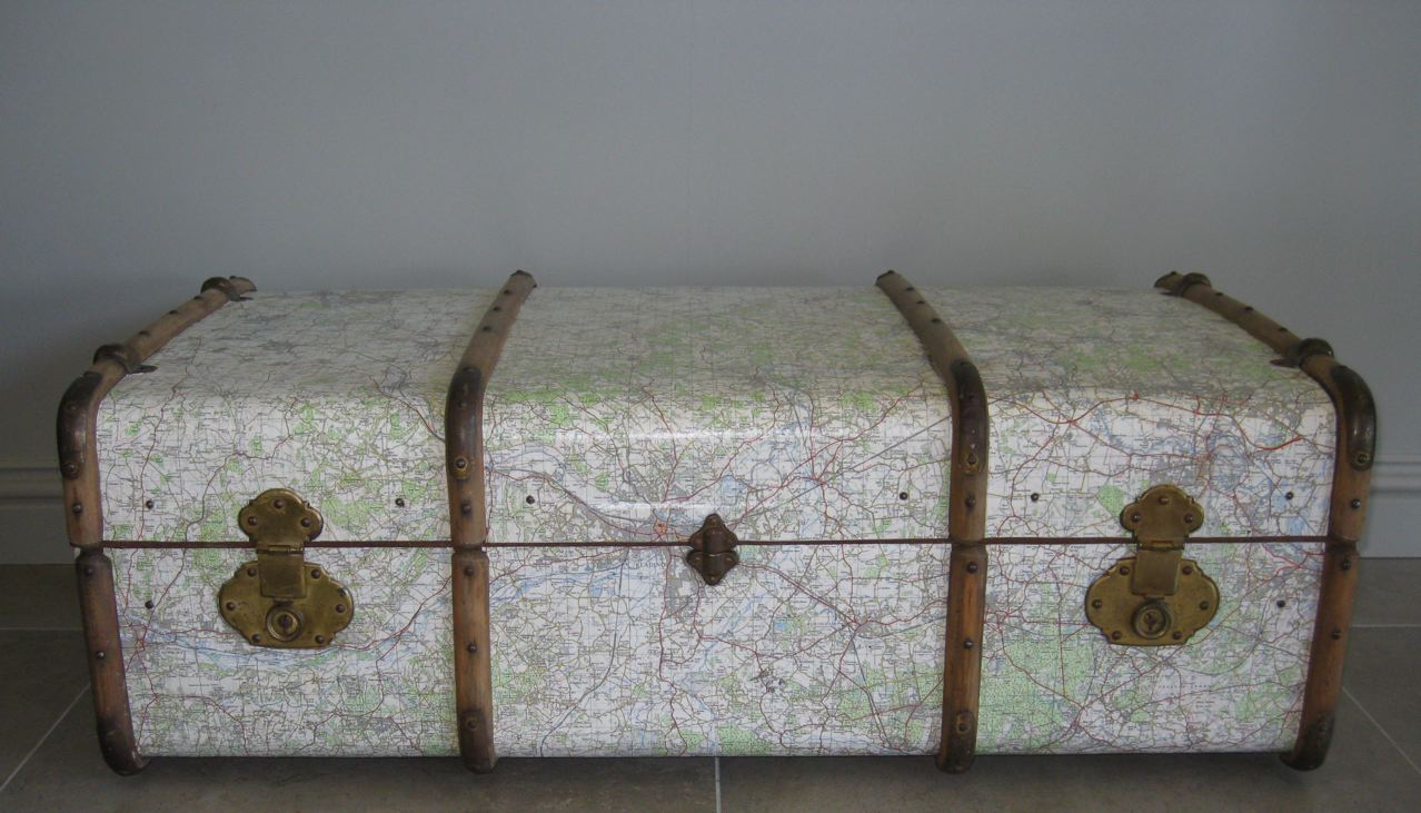 Découpage Vintage Steamer Trunk - Large 1 metre wide Vintage Steamer Trunk. Decoupaged in OS maps from 1959 joining areas from Oxford through the Thames Valley to outer London. Sealed with a dozen coats of varnish creating a durable and functional piece.