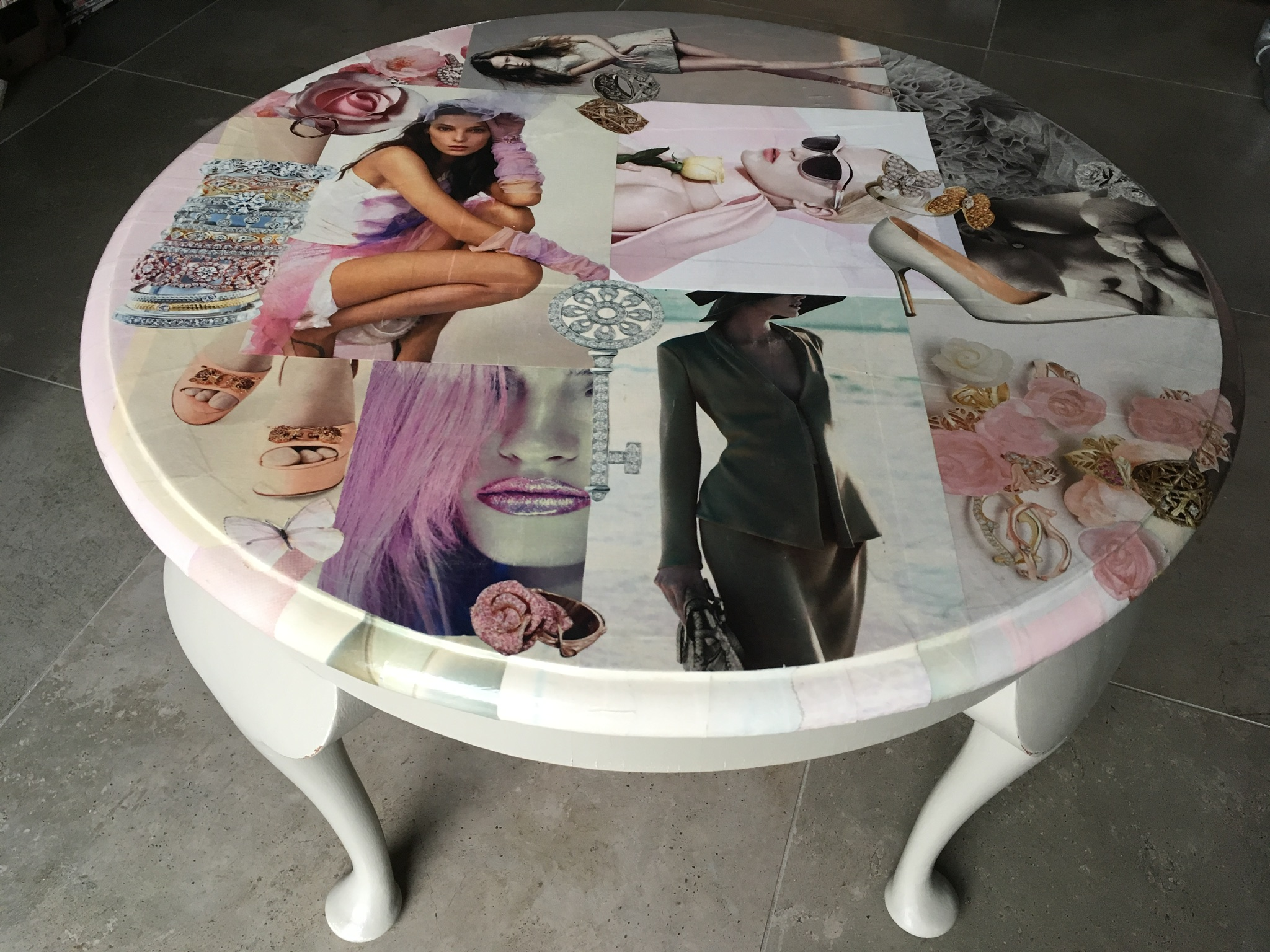 Scrap Couture Découpage side table - Découpage side table in couture images with handpainted Queen Anne legs.
