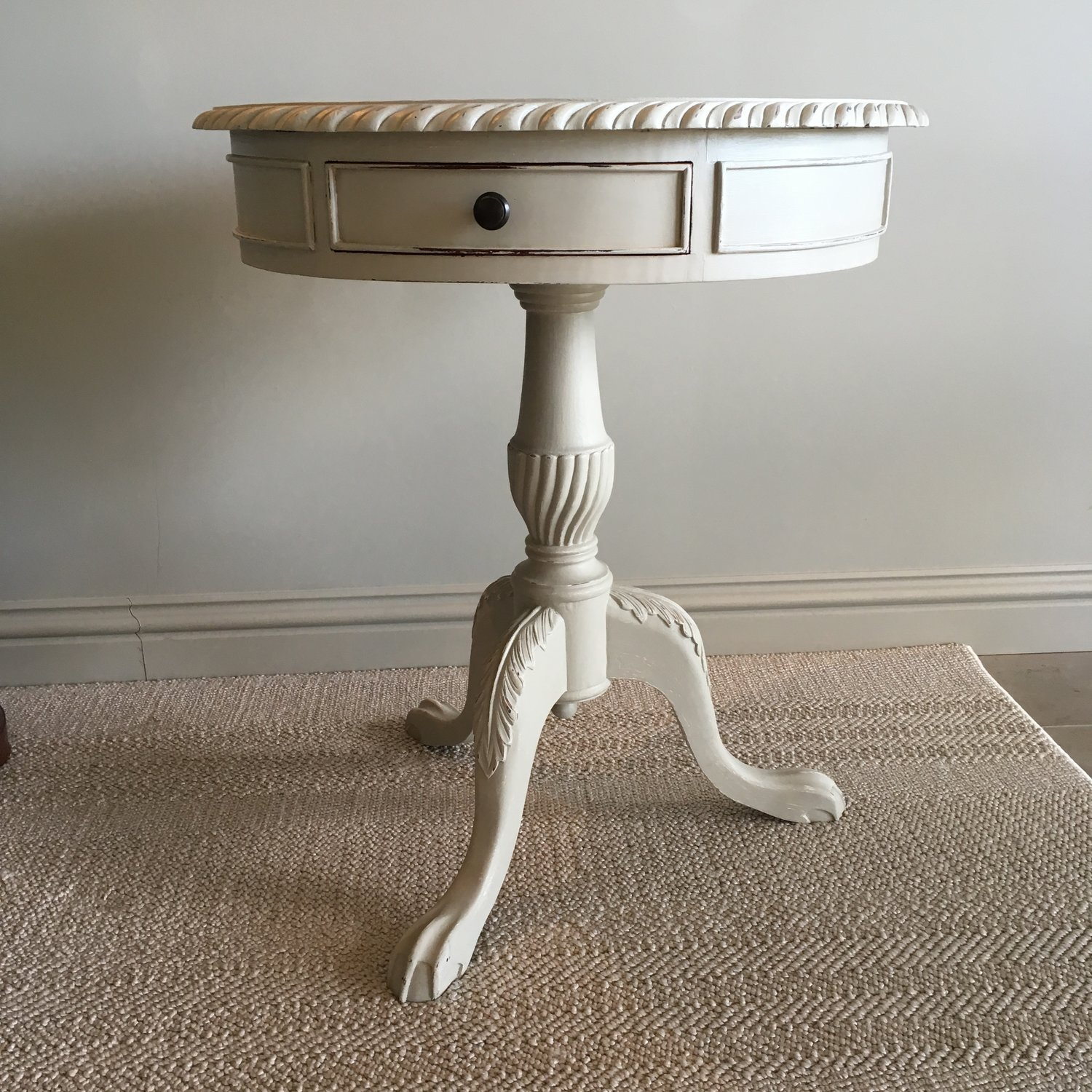 Hand painted Drum Table - Shapely Drum Table, hand painted in Farrow & Ball Hardwick White & lightly distressed for a Shabby Chic look, with a carved pedestal base & two drawers.