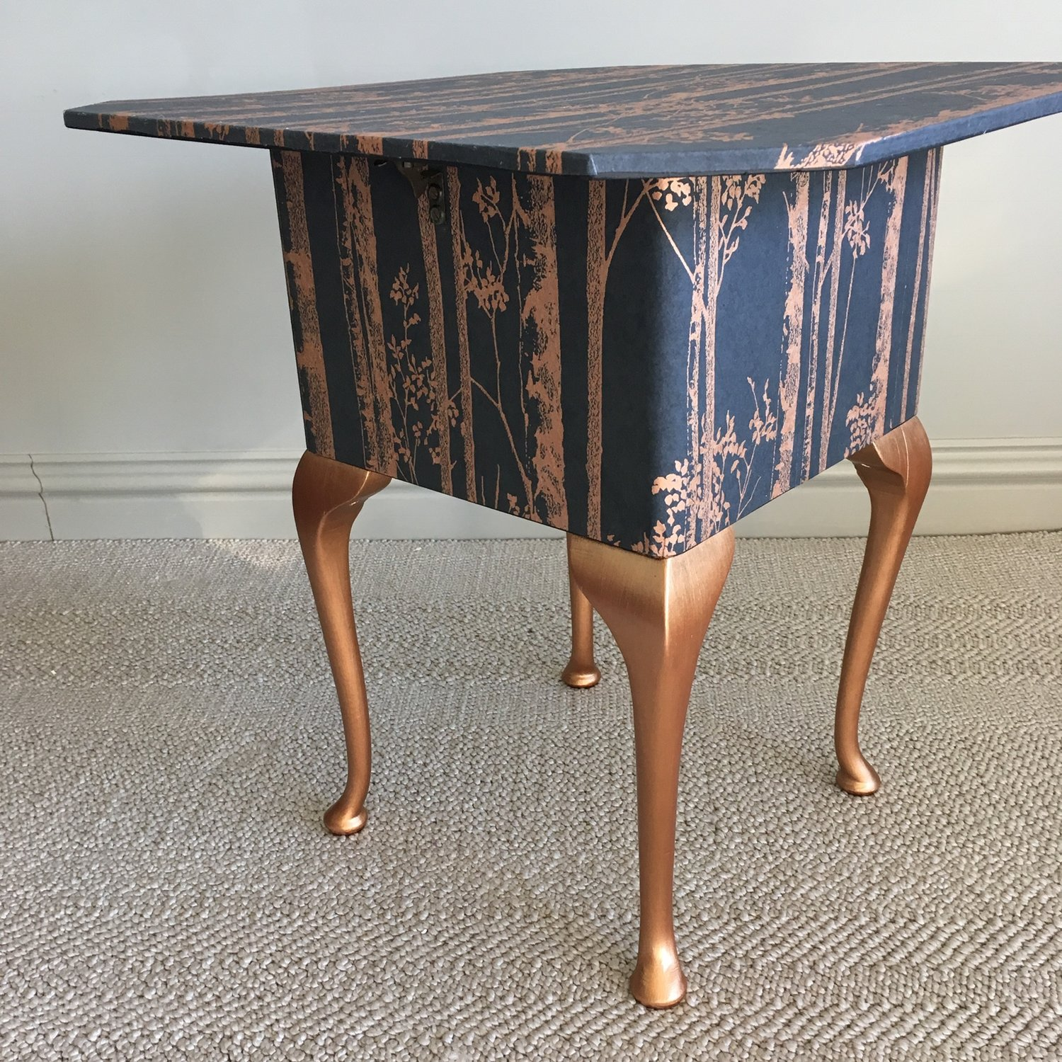 Copper Trees Vintage Sewing Box Table - A Vintage sewing Box & Table, Découpaged in Copper Trees paper sealed with protective dead flat varnish.