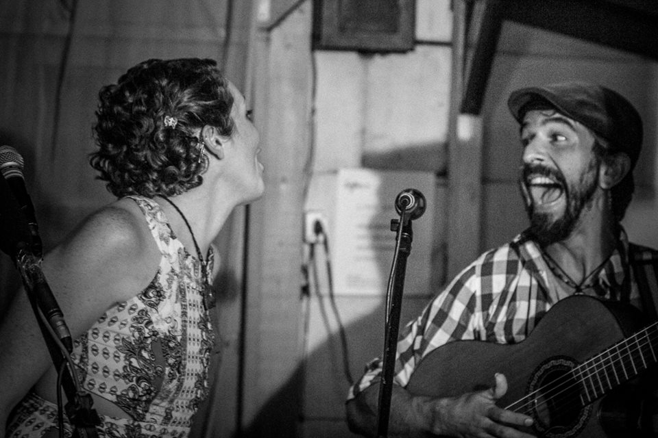 Jessica with Rafa Oliveira at Sofar Sounds in Floianopolis, Brazil