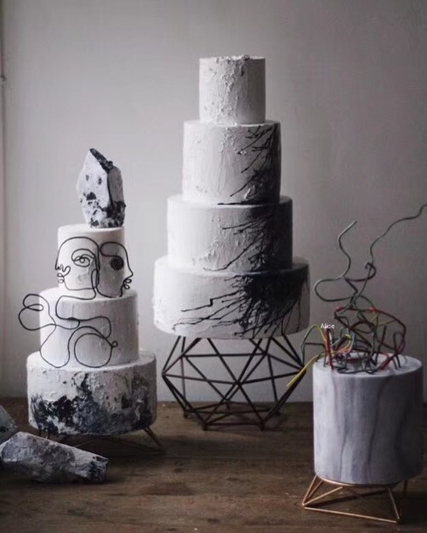 A set of cakes for a museum wedding.