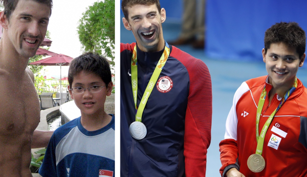 Michael Phelps and Joseph Schooling in 2008 (left) and in 2016 (right)