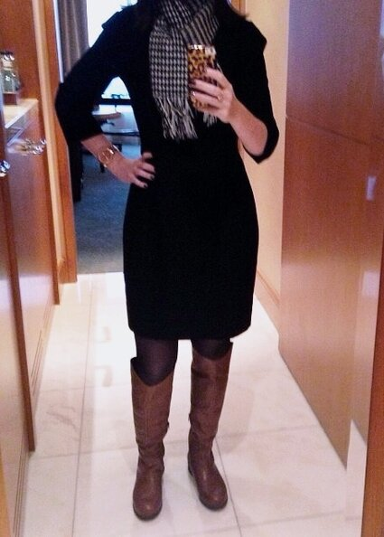 Post-flight selfie at the Ritz-Carlton Toronto in my 15-20 mmHg compression pantyhose.