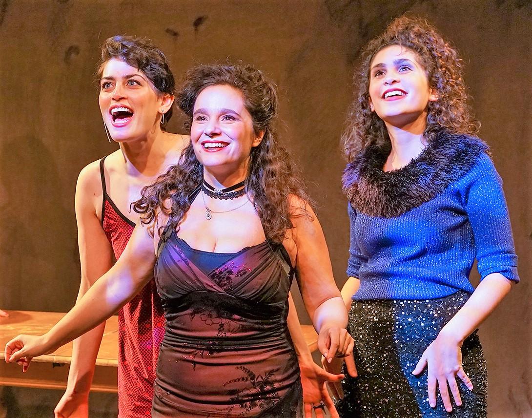 From left: Melissa Weisz as Manke, Rachel Botchan as Reizel and Mira Kessler as Basha in Sholem Asch's  God of Vengeance.  Top: Weisz (right) with Shayna Schmidt as Rifkele. Photos by Ronald L. Glassman.
