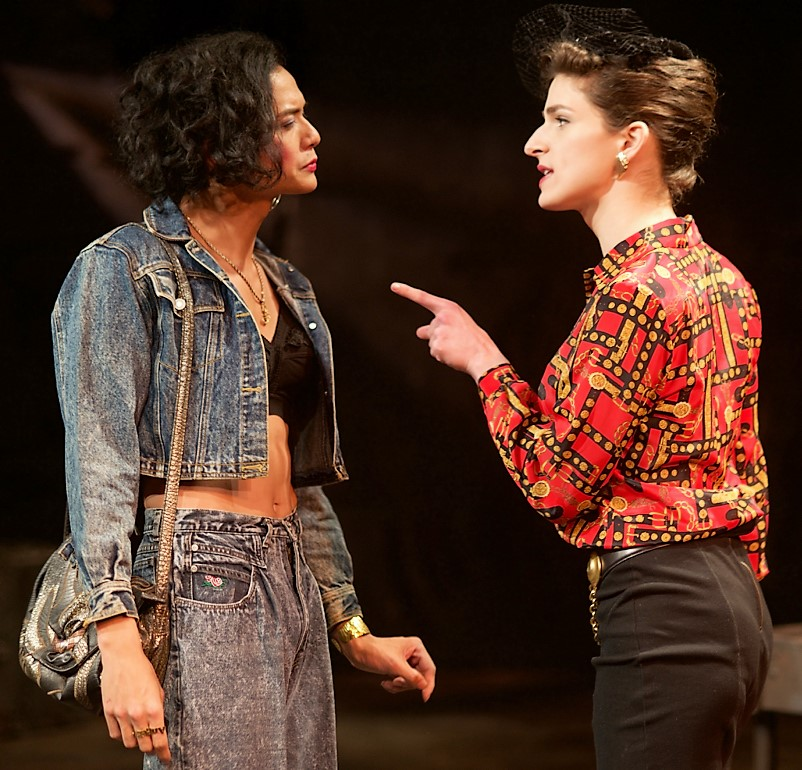 JP Moraga (left) as Angela and Eve Lindley as Jamie exchange barbs in  Street Children . Top: Moraga on Angelica Borrero-Fortier's set. Photographs by Ted Alcorn.