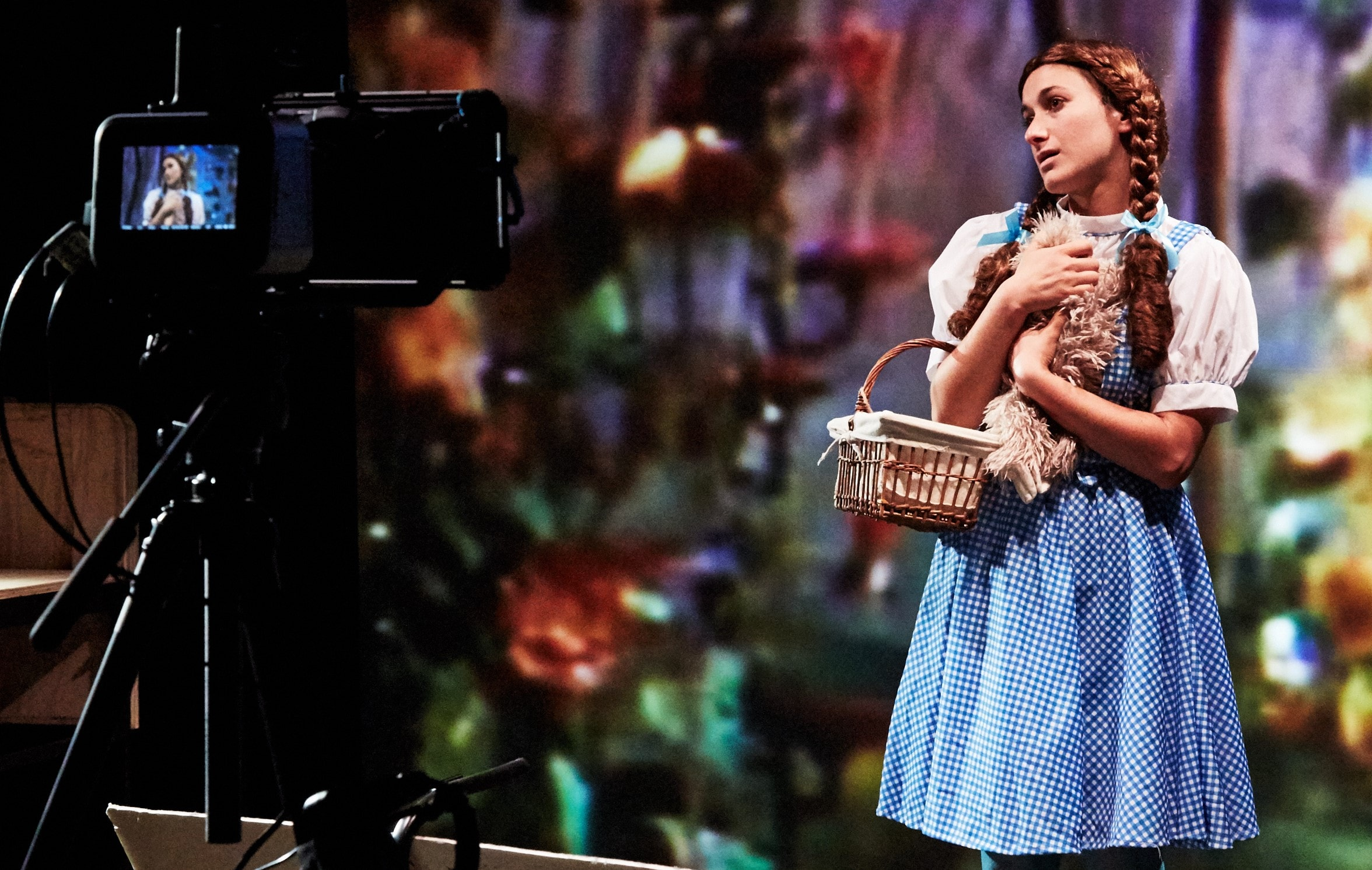 Hannah Heller takes her turn as Dorothy in  Elements of Oz . Top: A stage view of the production. Photos by Gennadi Novash.
