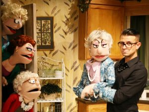 "Dorothy (Michael LaMasa) with Rose (Arlee Chadwick), Blanche (Cat Greenfield) and Sophia (Emmanuelle Zeesman) in Jonathan Rockefeller's ""That Golden Girls Show!—A Puppet Parody."" Top (from left): Rose (Chadwick), Dorothy (LaMasa), Sophia (Zeesman) and Blanche (Greenfield)."
