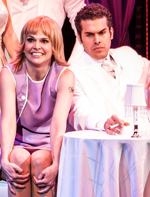 Sutton Foster is Charity and Joel Perez is Vittorio Vidal in the musical  Sweet Charity . Top: Charity on the subway with Oscar (Shuler Hensley), whom she falls for. Photos by Monique Carboni.