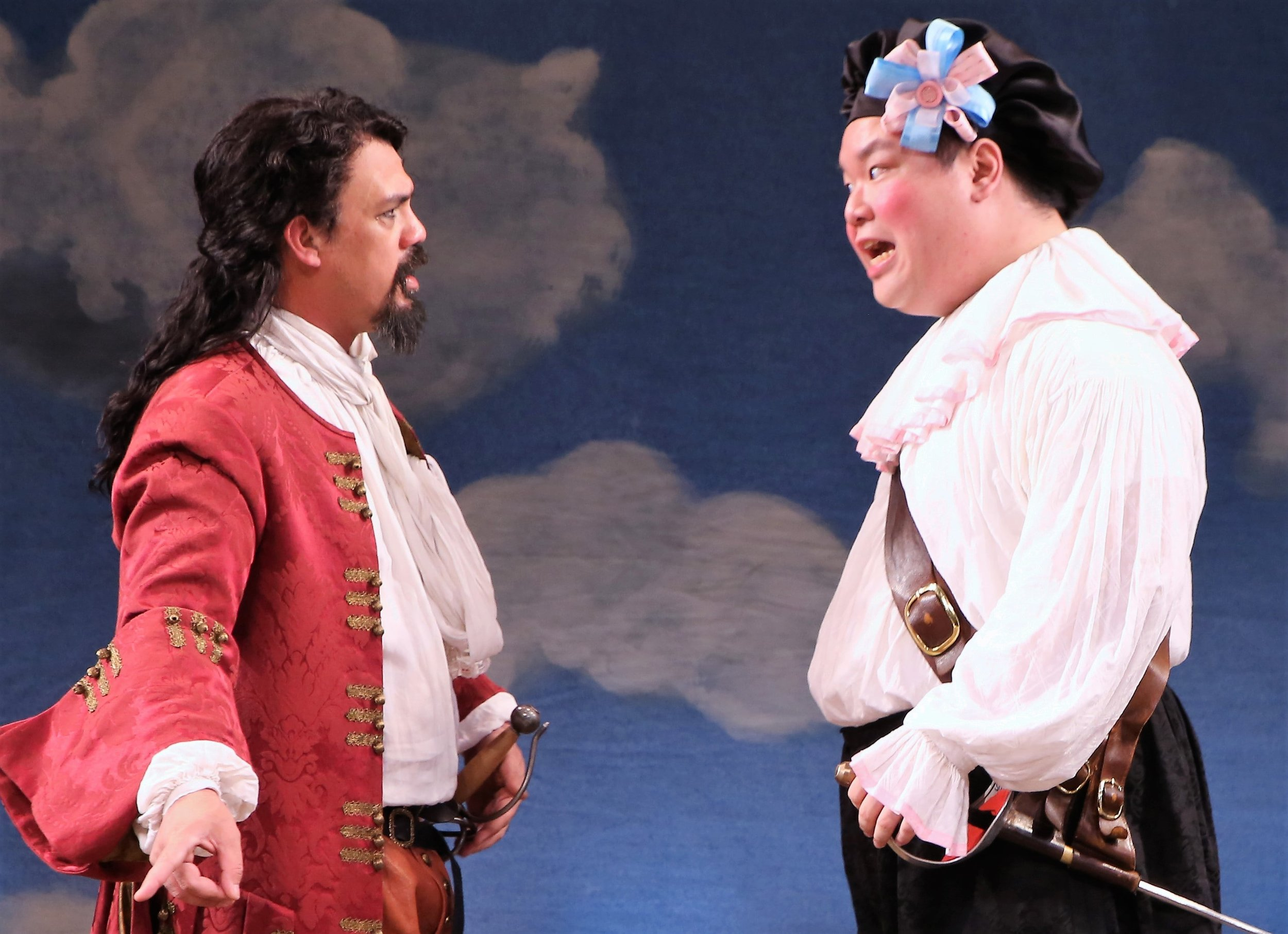 Orlando Pabotoy (left) is Florindo and Eugene Ma Is Silvio in  The Servant of Two Masters . Top, from left: Steven Epp as Truffaldino, Liam Craig as Brighella and Liz Wisan as Beatrice.