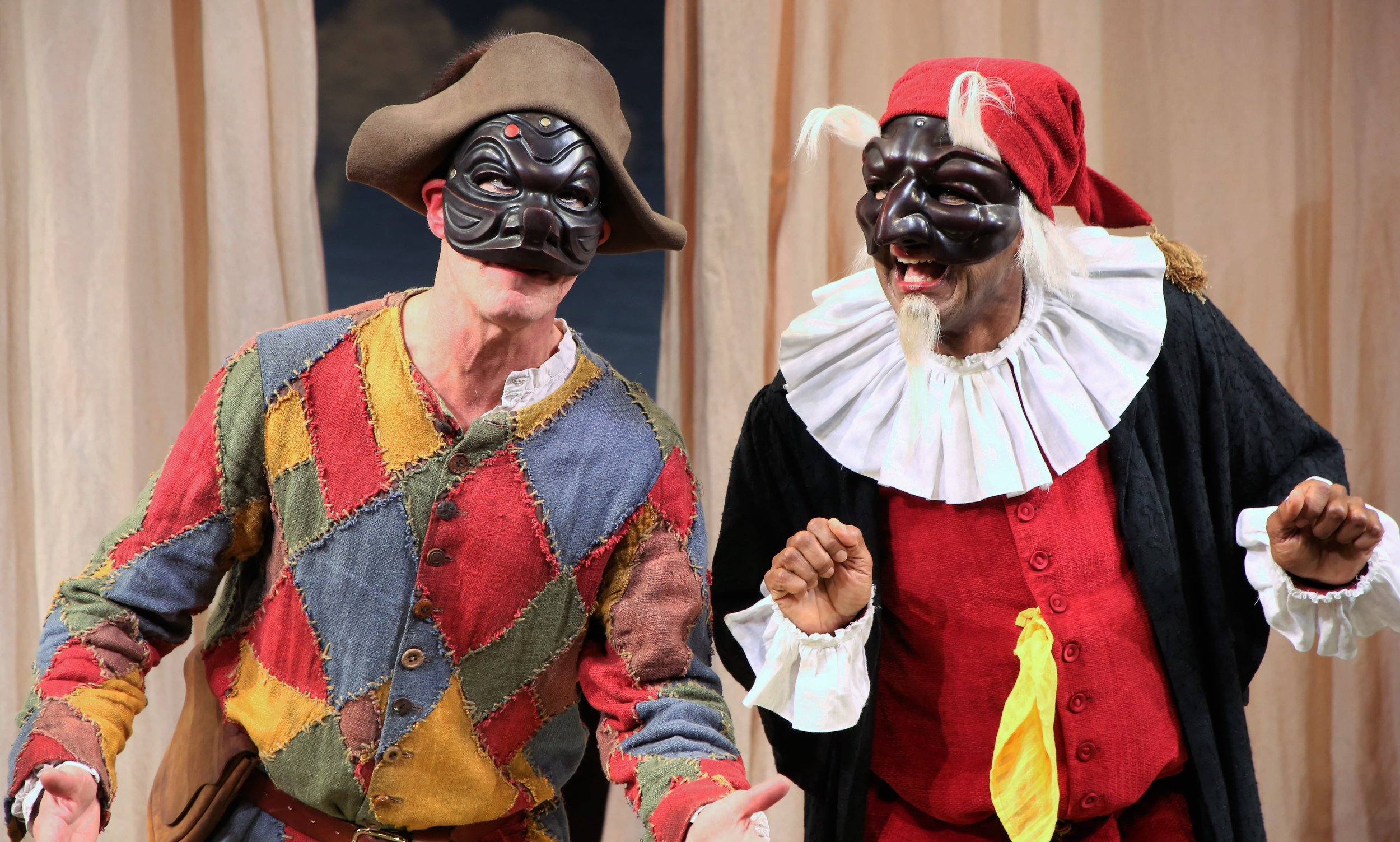 Epp (left) with Allen Gilmore as Pantalone. Photos by Gerry Goodstein.