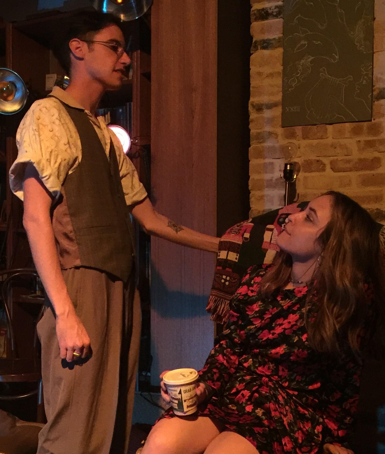 Tad D'Agostino as Leo confides in Alana (Anamari Mesa). Photo by Di Di Chan.