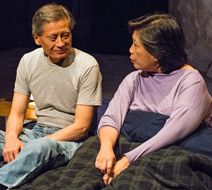 Tyson Kubota (left) and Mia Katigbak play the parents in MJ Kaufman's  Sagittarius Ponderosa.